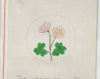 Two Little Flowers Hand Painted on 18 ct Needlepoint Mono Canvas - The Workshop 36 Circle Design