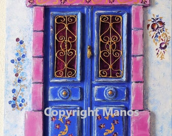 Traditional Mediterranean-Greek front door (Acrylic on Wood) 35 cm x45 cm  3d painting