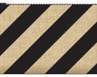 033 Burlap clutch - black stripes