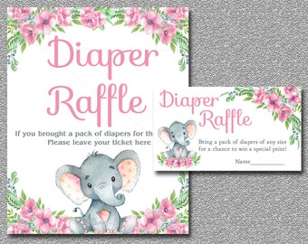Pink Elephant Diaper Raffle Card insert & Sign, Printable Girl Floral Elephant Baby Shower diaper raffle ticket insert INSTANT DOWNLOAD 006