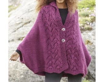 Women handknit oversized poncho / cape / jacket in soft wool with lace pattern. Sizes S - XXXL