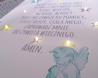 Baptism gift, Light up print with guardian angel and prayer, Print with angel, Mint decor, Watercolor print, Led lights, Angel decoration