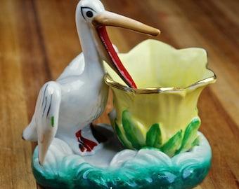 Vintage Japan Pelican Planter Bud Vase