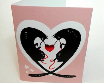 Kitty Love shiny red metallic foil heart Valentines Day Card
