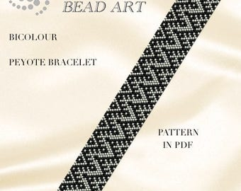 Peyote pattern for bracelet - Bicolour - Geometric silver black peyote bracelet pattern in PDF - instant download