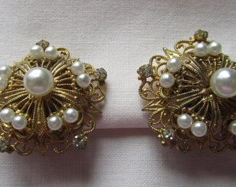 Vintage clip on filigree earrings with faux pearls and rhinestones