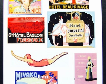 Vintage Luggage Label Images Paper, on Card Stock 8.5 X 11 Sheet P-2. NOT Digital