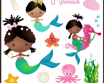 MERMAID Clipart, African American Mermaid, African Mermaid, Cute Girl Clipart, Mermaid on Seahorse, Brown Skinned Mermaid, Seashells