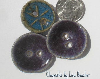 Three Handcrafted Stoneware Buttons