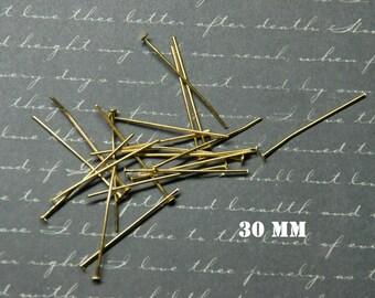 20 nails in golden metal 30mm flat head