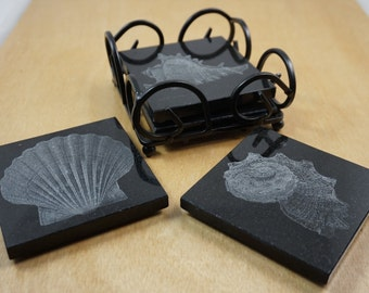 Shell Coasters ~ Laser Engraved Granite Coaster Set ~ Sea Shell Themed