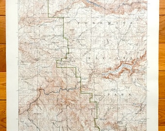 Antique Yosemite Valley and Hetch Hetchy Valley, Yosemite National Park, California 1903 US Geological Survey Topographic Map –Mariposa