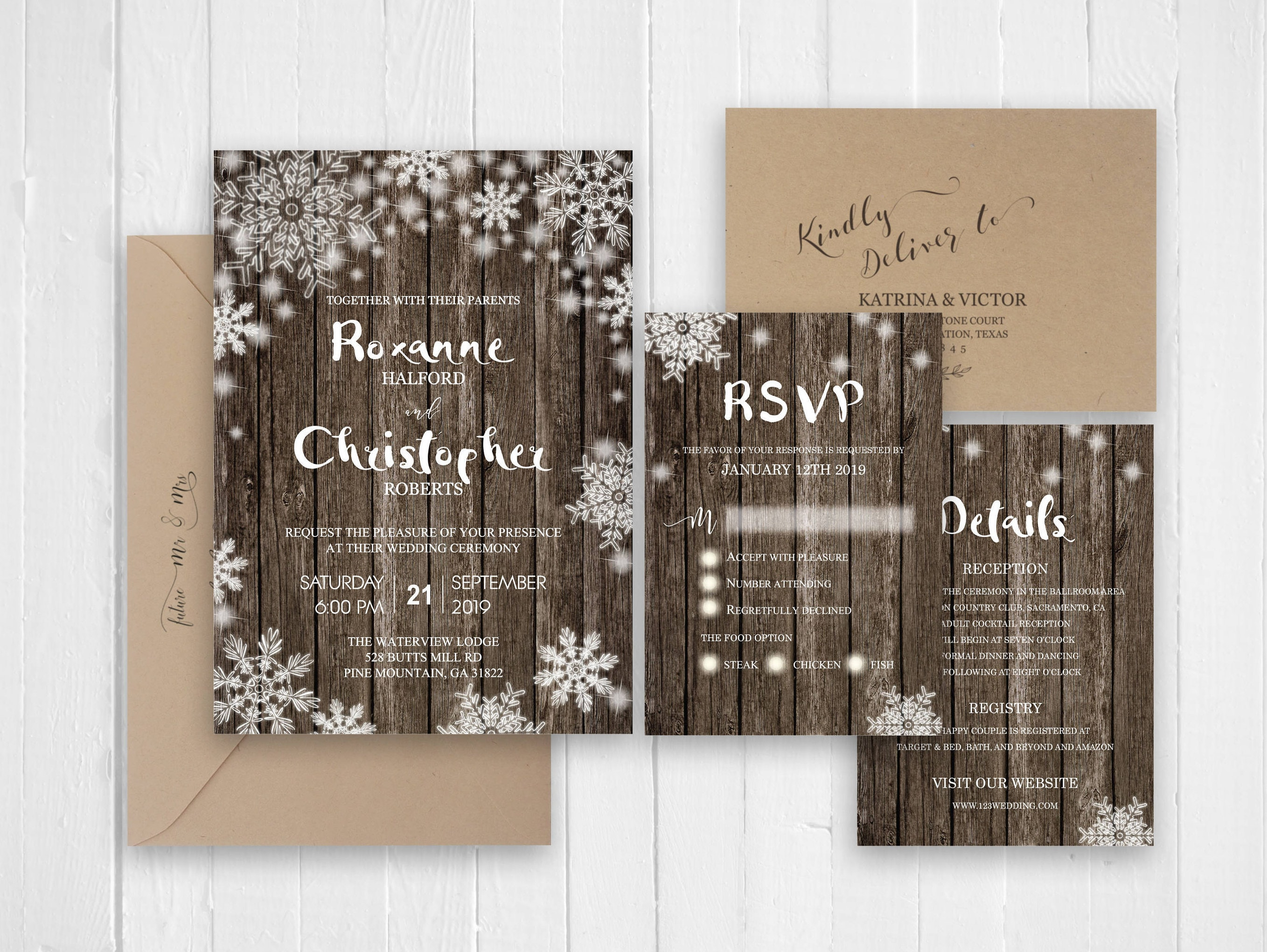 120lb Card Stock Winter snow wedding invitation Rustic barn wood