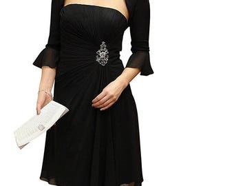 Evening dress with bolero jacket, 2 pieces, black and lilac