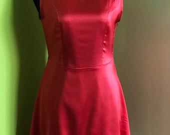Sleeveless red silk dress