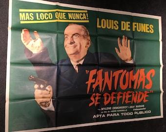 Original 1965 Fantomas Strikes Back Argentinian Movie Poster, Crime, Cult, Jean Marais