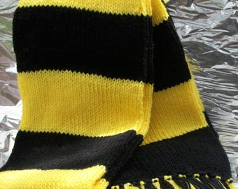 Hand Knitted Yellow and Black Deluxe Scarf