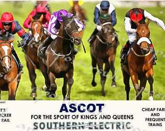 Vintage Style Railway Poster Ascot Horse Racing A3/A2 Print