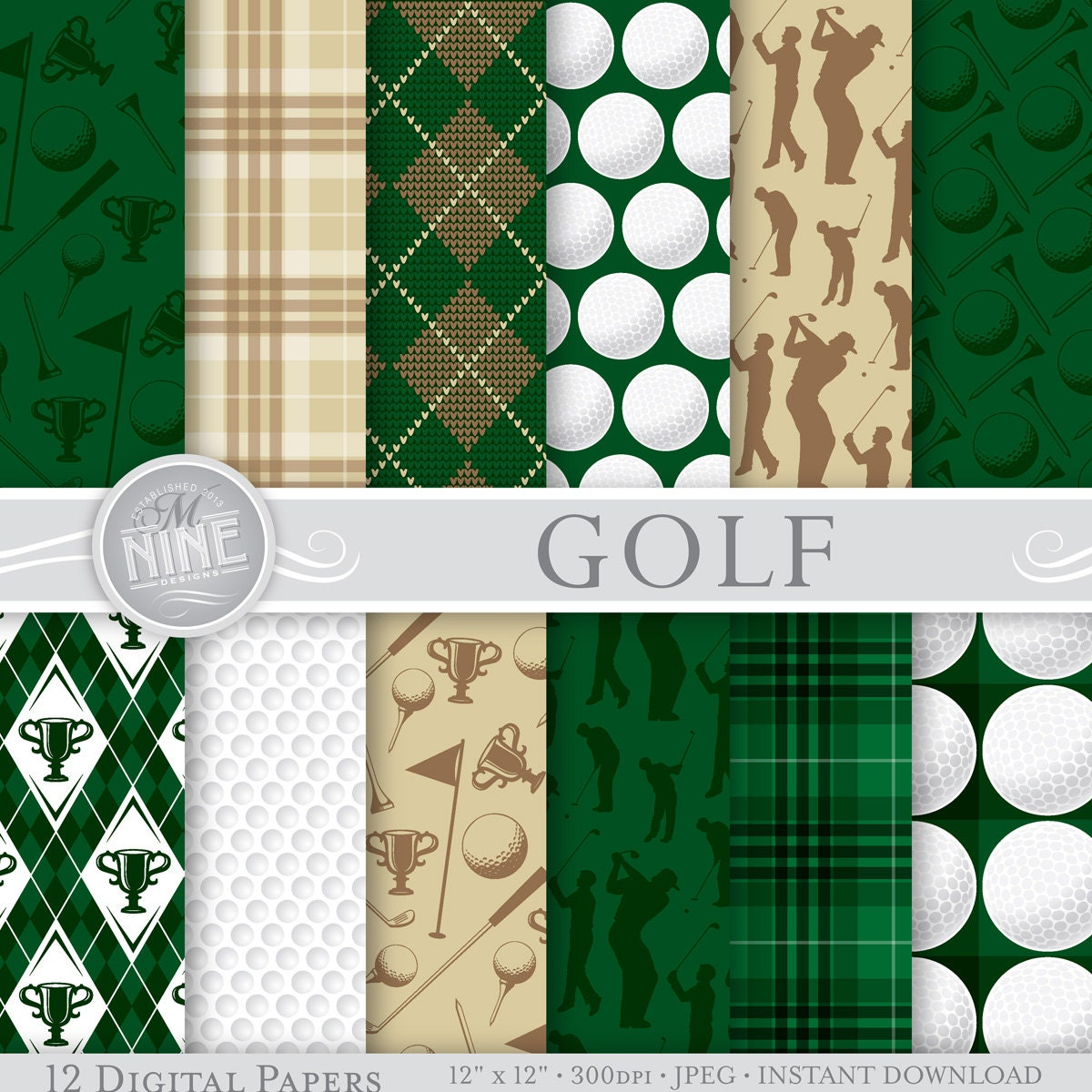 GOLF Theme Digital Paper Pack 12 X SPORTS Pattern Prints Instant Download Patterns Backgrounds Scrapbook Print