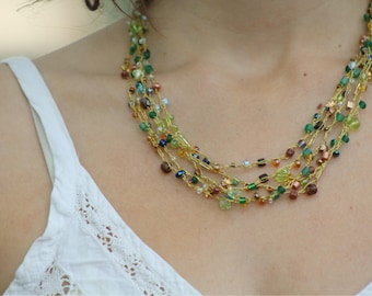 Multi strands necklace, Knitted necklace, Crochet necklace, Delicate necklace, Green necklace, Beaded Necklace, Women's Necklace, BFF gift