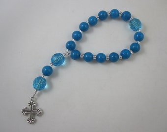 Turquoise Blue Riverstone and Light Turquoise Fire-Polished Glass Chaplet