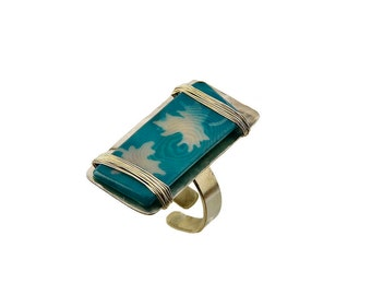 Vegetable ivory ring, long silver ring, painted by hand jewelry, turquoise ring, designer jewelry, nature inspired band, adjustable ring