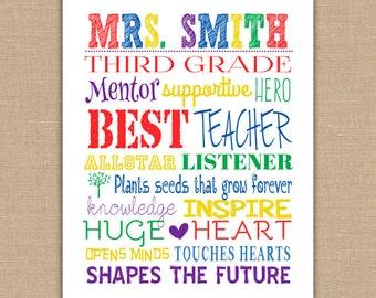 Teacher Subway Art PRINTABLE. Custom Teacher Name Custom Colors. Teacher Appreciation. Classroom Decor. Teacher Wall Art. DIGITAL file