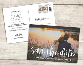 Hand Lettered Save The Date Card, Printable, Save The Date Postcard, Save The Date Calendar, Hand Lettering, Wedding Save The Date, PDF