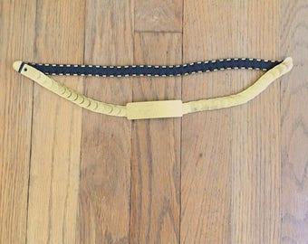 Vintage Floral print gold metal elastic belt 70s 1970s 80s 1980s