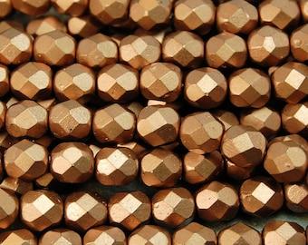 Matte Metallic Bronze Copper Czech Glass Firepolished 6mm Beads -25