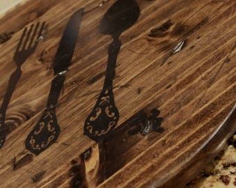 Classic Lazy Susan, Hand Painted Decorative Cutlery, Rustic and Distressed