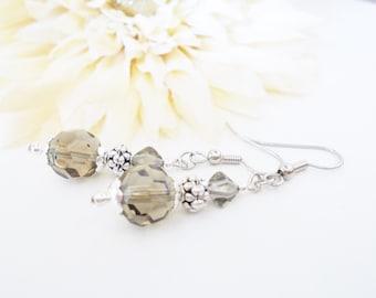 Gray Bridal Earrings Sterling Silver, Spring Wedding Jewelry, Bridesmaids Earrings, Flower Girl Jewelry, Silver Crystal Earrings Handmade