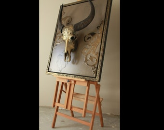 Painting with decorated buffalo skull