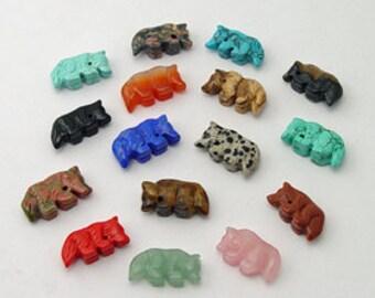 Dix pierres précieuses loup fétiche perles Zuni Style sud-ouest Totem Animal gardien Bond la loyauté famille chasse protecteur professeur connaissance forte