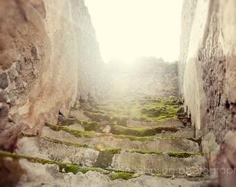 pompeii photography, naples, italy,  pompeii architecture, ruins, stairs, neutral decor, europe photo, travel photography, Pompeii Steps