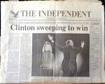 The Independent Newspaper September 4 1992 President Clinton Victory US elections 1990s American politics US President George W Bush
