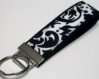 Fabric Key Fob, Key Chain, Key Ring, Key Holder, Wristlet Key Fob, Wristlet Keychain, Fabric Key fobs-White and Black Damask