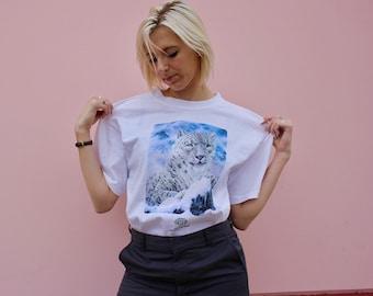 90's White Snow Leopard T-Shirt