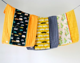 Baby Burp Cloth Gift Set of 3, Going Places Transportation Cactus B-364
