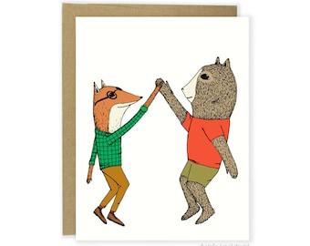 Friendship Card, Cute Friends Card, Huzzah Card, High Five Card, You Did It Card, For Her, For Him, Funny Friendship Card, Funny Friend Card