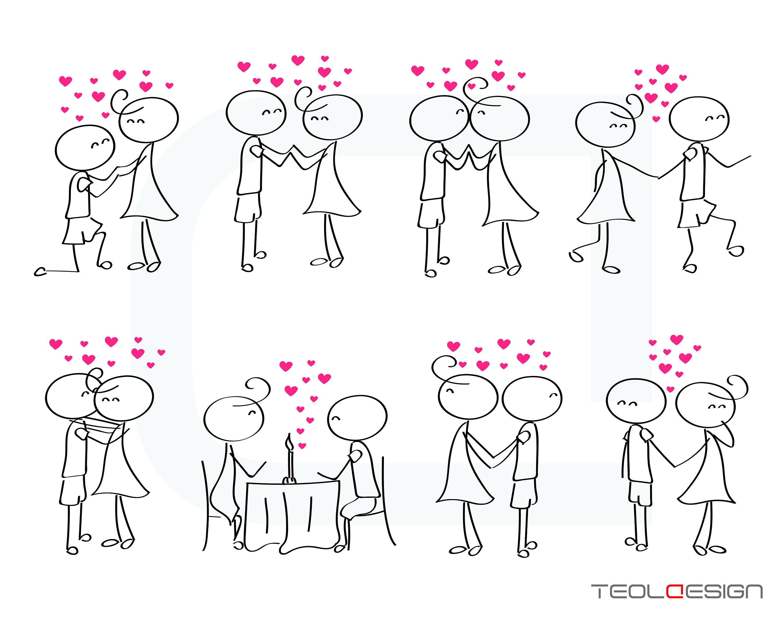 EPS PNG Stick figure Valentine's day Valentine People Love