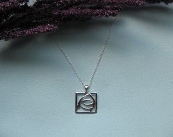 Beautiful 'Charles Rennie MacIntosh' inspired Sterling Silver Pendant with Sterling Silver Chain