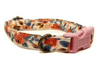Nottingham - Peach Coral Floral Flowers Vintage Floral Shabby Chic Organic Cotton CAT Collar - All Antique Metal Hardware