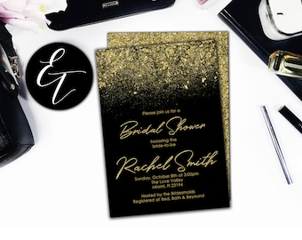 Black and Gold Bridal Shower Invitation Black and Gold Glitter Invites Gold Invitation Gold and Black Invitation Invites Digital Download