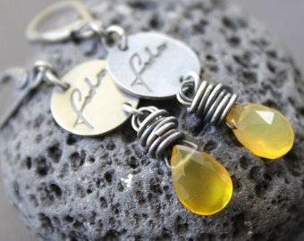 Small earrings, raw sterling silver, chalcedon, earrings, oxidized silver, yellow earrings
