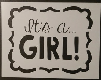 It's a Girl Baby Sign Custom Stencil FAST FREE SHIPPING