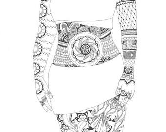Indian art, Hina art, A mysterious woman, Tatoo art, Black print