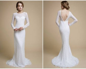 UMELIA / mermaid wedding dress long sleeve wedding dress cotton lace dress white lace dress long sleeve white dress low back wedding dress
