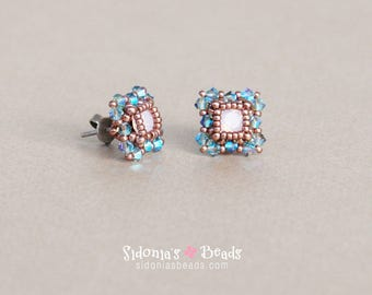 Stud Earrings Tutorial - 6mm Swarovski Chatons - Swarovski Earrings Tutorial - Beading Pattern - Direct Download