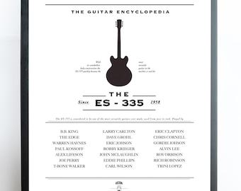 Gibson ES335 Poster Print, ES335 Guitar, Rock Music, guitar,musical instruments, music pritable, music decor,Gibson ES-335 Dot, Custom
